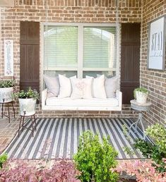 Trendy Area Rugs | Quality Area Rugs Online | Boutique Rugs Indoor Outdoor Rugs, Outdoor Spaces, Outdoor Decor, Outdoor Living, Wooden Tops, Farmhouse Rugs, Exposed Brick, Finding A House, Porch Decorating