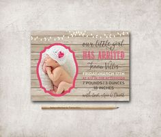 Birth Announcement Printable, Digital File, 5x7, Photo Baby Girl Birth Announcerment, Birth Thank you Card - pinned by pin4etsy.com