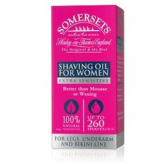 Somersets Women Sensitive Shave Oil (Drugstore.com, $14.99) - 100% Natural Concentrated Pure Plant Extracts, up to 260 shaves, better than mousse/waxing.