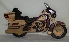 Wings of Rose Motorcycle Wood Intarsia by WoodcraftsbyArt on Etsy, $60.00