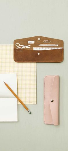 Keecie - Pen Pal etui - Cognac leather and Soft Pink leather