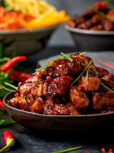 s Sticky Chinese pork belly is meltingly tender with a sweet-spicy-sticky coating. Check out my process for the best pork belly you've ever tasted. Gluten free option too! Instant Pot Chinese Recipes, Asian Recipes, Asian Pork Belly Recipes, Thai Recipes, Healthy Recipes, Chinese Pork Belly Recipe, Best Pork Belly Recipe, Korean Pork Belly, Spicy Korean Pork