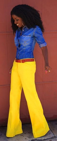 This is such a dope ensemble...if the shirt was a lil' bit longer you're straight!  Yellow Wide Leg Poplin Pants by Style Pantry