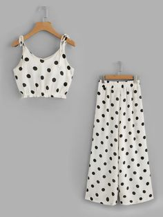 Shop Polka Dot Tie-Strap Crop Top With Wide Leg Pants online. SheIn offers Polka Dot Tie-Strap Crop Top With Wide Leg Pants & more to fit your fashionable needs. Girls Fashion Clothes, Teen Fashion Outfits, Kids Outfits, Kids Fashion, Cute Outfits, Woman Fashion, Crop Top Outfits, Dresses Kids Girl, Two Piece Outfit