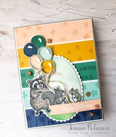 Even thought the TGIF Challenge this week is a sketch challenge, I challenged myself with a color combo that would normally be way outside of my comfort zone! Kids Birthday Cards, Birthday Fun, Cat Cards, Kids Cards, Horse Cards, Little Critter, Animal Cards, Card Maker, Card Sketches