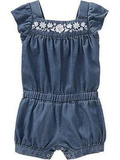 Chambray Bubble Rompers for Baby $15