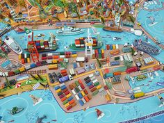 Sara Drake - 3D Illustrated Map of Fremantle, WA Australia. Map of my home town made for a local hotel. This image is a detail of the port. Mixed media - paper, card, balsa wood and wire.