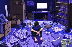The Fight to Save Japan's Young Shut-Ins Academic surveys estimate between and two million people in Japan are hikikomori, exhibiting an. All Anime, Gifs Triste, Aesthetic Art, Aesthetic Anime, Image Manga, Pixel Art, Game Art, Fantasy Art, Marketing Jobs