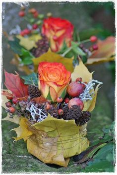 wrapped in leaves for vase . container wrapped in leaves for vase Mehrcontainer wrapped in leaves for vase . container wrapped in leaves for vase . Deco Floral, Arte Floral, Fleur Design, Fall Flower Arrangements, Container Flowers, Fall Flowers, Flower Designs, Flower Pots, Fall Decor