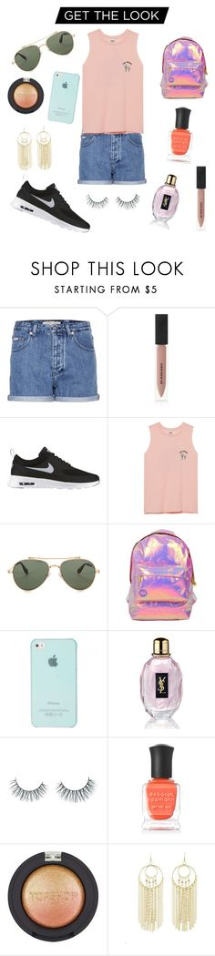 """""""Nine"""" by omarieo ❤ liked on Polyvore featuring Calvin Klein Jeans, Burberry, NIKE, Givenchy, Miss Selfridge, Yves Saint Laurent, Unicorn Lashes, Deborah Lippmann, Topshop and Charlotte Russe"""
