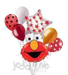 7 pc Elmo Head Balloon Bouquet Happy Birthday Party Decoration PBS Sesame Street