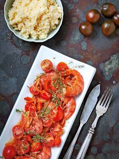 Gambas con ajo y tomate