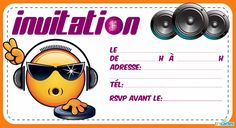 Invitation anniversaire Dj smiley - 123 cartes