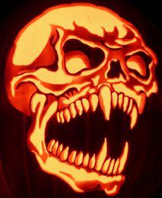 Fang Skull by kenklinker on DeviantArt Scary Pumpkin Carving, Halloween Pumpkin Carving Stencils, Skull Pumpkin, Pumpkin Carving Patterns, Pumpkin Eyes, Pumpkin Art, Pop Culture Halloween Costume, Halloween Skull, Halloween Pumpkins