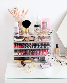 Vanity organization #beauty #makeup #vanity #homedecor #organize