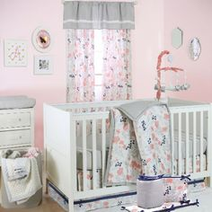 Crib bedding sets make the nursery perfect. Welcome the new arrival with crib bedding sets for girls and crib bedding sets for boys from buybuyBABY. Get sweet baby crib bedding sets - buy now Coral Baby Bedding, Baby Girl Bedding Sets, Baby Nursery Bedding, Girl Nursery, Nursery Room, Coral Navy Nursery, Disney Nursery, Floral Nursery, Girl Room