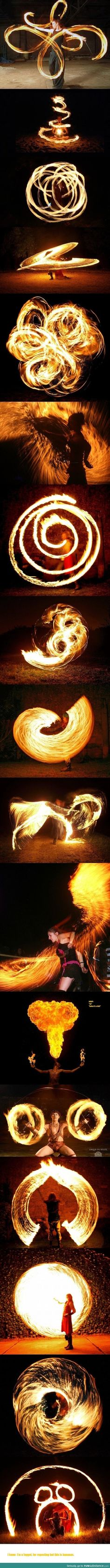 This collage of firespinning shows the creative power of a long exposure. With the shutter open, the camera is able to capture the complete movement of the firespinner, giving this feeling of flow and simplicity to the image. I hope to create some light p Foto Art, Jolie Photo, Avatar The Last Airbender, Long Exposure, Photomontage, Light Photography, Super Powers, Amazing Art, Awesome