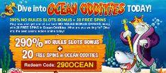 Silveroak Casino 290% NO RESTRICTIONS slot bonus with 20 freespins in Ocean Oddities slot machine!