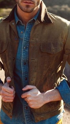canvas jacket. denim shirt. essentials. country. style.