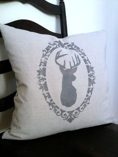Deer Antler Silhouette Canvas & Chevron Pillow by @MySwallowsNest