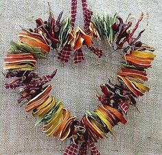 Dried Fruits And Strings Heart Shaped Wreath Idea For Your Kids