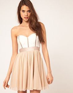 Enlarge ASOS Skater Dress With Lace Bustier