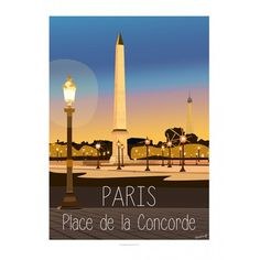 Paris - Place de la concorde  Affiche de Collection, signée et numérotée Style : ancien, minimaliste, design, scandinave, colorée, publicité, pub ancienne, moderne, contemporrain, artwork, Eric Garence Sujet : Côte d'Azur, village, provence, French Riviera, mer, sea, summer, travel, sunset, sunrise, paris, Eiffel Tower, by night, bir hakeim bridge, france, romantic, montmartre, tertre, painting, cats, champs elysées, cars, moon, glamour, chic, concorde, ritz, meurice, louvre