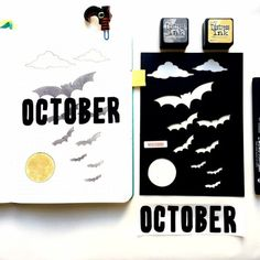Get you boojo on! (see what I did there?) The Bat and Moon stencil creates a spooky layout - even if you can't draw! #bulletjournal Bullet Journal Christmas, April Bullet Journal, Bullet Journal Spread, Bullet Journal Layout, Bullet Journal Inspiration, Bullet Journal Stencils, Journal Pages, Journal Ideas, Bujo Doodles