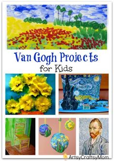 Vincent Van Gogh Projects for Kids – 10 Inspiring Ideas to try with your kids, celebrateing 'Inspire your Heart with Art Day' [ Featuring starry night, sunflowers, art craft. Ar tAppreciation for kids Preschool Art Projects, Easy Art Projects, Art Activities, Projects For Kids, Kids Crafts, Easy Crafts, Art Lessons For Kids, Art For Kids, Paint Night For Kids