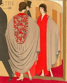 More from André Édouard Marty's exquisite observations of the high society of his day. The lady admiring herself sports a Paul Poiret coat, another famous former-boxer-cum-fashion-designer of the 1920's and 30's.