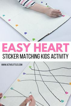 Easy Heart Sticker Matching Activity for Kids - Active Littles Valentines Day Crafts For Preschoolers, Toddler Valentine Crafts, Valentines For Kids, Toddler Crafts, Creative Activities For Toddlers, Toddler Activities, Valentine Special, Valentines Day Hearts, Toddler Preschool