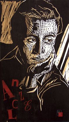 Paul Celan Reduction woodcut on washi 2000 by Dirk Hagner. http://www.dirkhagnerstudio.com/ Tags: Linocut, Cut, Print, Linoleum, Lino, Carving, Block, Woodcut, Helen Elstone, Human, Portrait