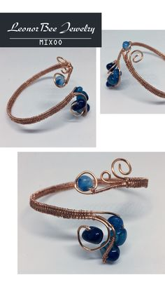 Bracelet with blue agate and copper wire