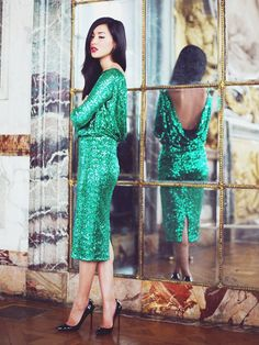 Gary Pepper blogger in a sequin jewel-tone dress for the holidays