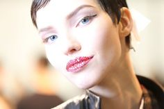 Obsessed with Dior crystal lips from the  Spring 2013 Couture show. Now, this is good face.