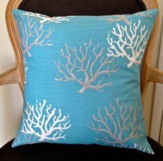 Aqua/turquoise blue/green coastal coral ocean decorative custom made diy throw pillow cover. Couch, sofa, chair, living room pillows.
