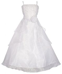 Wonder Girl Angelica Big Girls Organza Tea Length Rhinestone Long Dress 4 White *** Want to know more, click on the image.