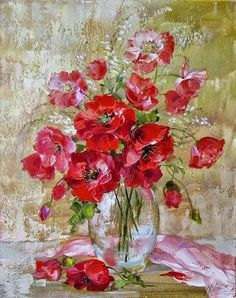 Ideas For Poppy Flower Art Palette Knife Acrylic Flowers, Abstract Flowers, Watercolor Flowers, Watercolor Paintings, Wow Art, Famous Art, Arte Floral, Art Oil, Painting Inspiration