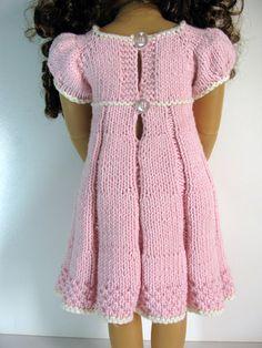 PLEATED SUMMER slim 18 inch doll Kidz n Cats DRESS Knitting