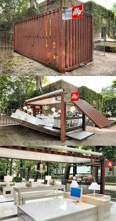 shipping container coffee shop clever design  idea +++ Cafeteria al aire libre ambulante movil recicla contenedor moderno inteligente diseño