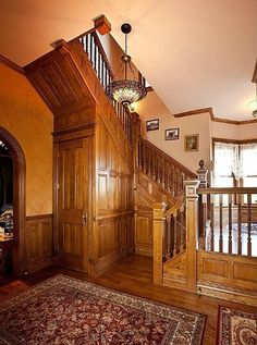 How one couple built a new house with the old plans for an 1885 Queen Anne Victorian in Kansas. Victorian Interiors, Victorian Design, Victorian Decor, Victorian Homes, Victorian Stairs, Victorian House Plans, Entry Stairs, Old House Dreams, Staircase Design