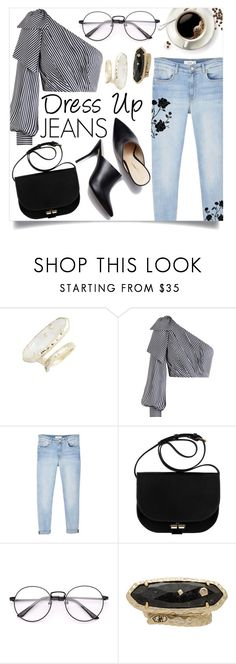 """""""Dress Up Jeans"""" by xxfashiongirl12xx ❤ liked on Polyvore featuring Kendra Scott, Zimmermann, MANGO, A.P.C., men's fashion, menswear, dressy, stripes, jeans and dressup"""