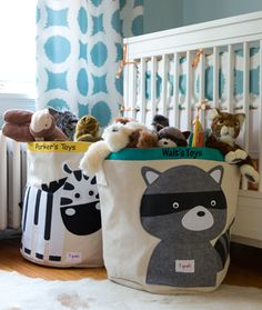 Personalized 3 Sprouts Storage Bins Racoon & Zebra at Makaboo