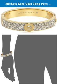 Michael Kors Gold Tone Pave Fulton Hinge Bangle Bracelet. This Michael Kors Bangle is elevated by rows of pave stones and punctuated with our logo detail, this gold-tone bangle is entirely stackable but also shines solo. Whether you're prepping for a presentation or styling an evening ensemble, consider this statement piece the last word in luxe accessorizing.