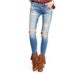 Denim  Supply Ralph Lauren Kayla Kayla Skinny Jeans - Women's ($125) ❤ liked on Polyvore featuring jeans, kayla, light wash skinny jeans, white stretch jeans, white skinny jeans, white skinny leg jeans and stretchy skinny jeans
