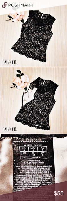 """Marciano Sleeveless Black Lace Peplum Top Marciano Sleeveless Black Lace & Nude Liner Peplum Top  🔹Color: Black & Nude 🔹Detail: Key hole button closure  🔹Size: 6 🔹Bust: 34.5"""" Waist: 28"""" Length: 23.75"""" Shoulder Width: 28.5"""" 🔹Body: 66% Cotton, 21% Nylon, 13% Viscose Liner: 96% Polyester, 4% Spandex  🔹Condition: Excellent used condition.  Thank you for stopping by my closet. Please let me know if you have any questions. 🎁GM Guess by Marciano Tops"""