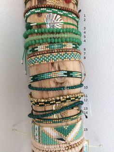 Shades of green - jewelry diy bracelets Loom Bracelet Patterns, Bead Loom Bracelets, Bead Loom Patterns, Jewelry Patterns, Beading Patterns, Bracelet Wrap, Seed Bead Jewelry, Bead Jewellery, Beaded Jewelry