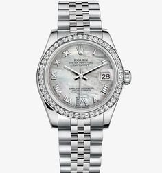 "This is my ""I'll never own it but I love it"" watch: Date Just Lady 31 mm Oyster watch from Rolex in steel and white gold with diamonds, with mother of pearl dial (Model #178384) Retail Price: $17,100.00"