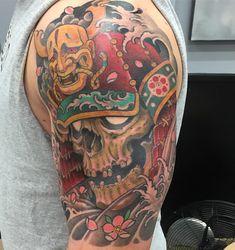 Worked on this skull today !! Thanks Kurt!! #bigbrainomaha #bigbraintattoo #skulltattoo #skull #samuraitattoo