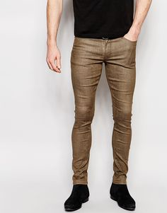 Buy Gray Asos Skinny jeans for men at best price. Compare Jeans prices from online stores like Asos - Wossel Global Stretch Denim, Super Skinny Jeans, Skinny Fit, Asos Men, Burton Menswear, Lined Jeans, Men's Wardrobe, Mannequin, Snake Skin